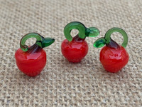 1 | Charming Red Apple Lampwork Glass Charms