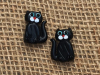 1 | Black Kitty Cat Lampwork Glass Beads