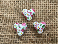 1 | Daisy Heart Lampwork Glass Beads