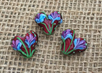 1 | Brown Tulip Heart Beads Lampwork Glass