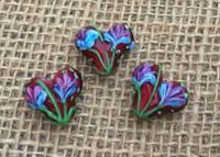 1 | Brown Tulip Heart Beads Lampwork Glass