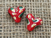 Red Heart Camouflage Glass Bead