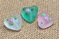 1 | Frosted Hearts with a Rose Bud Lampwork Glass Beads
