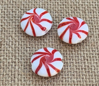 1 | Red Peppermint Candy Glass Beads