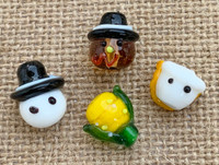 4 | Thanksgiving Turkey & Pilgrim Lampwork Beads