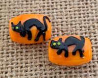 1 | Black Cat on Orange Lampwork Glass Beads
