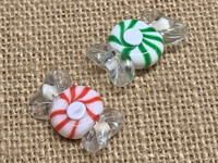 1 | Red or Green Wrapped Peppermint Candy Lampwork Glass Beads