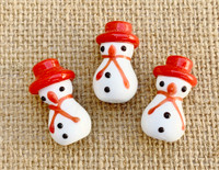 1 | Red Hat Snowman Lampwork Glass Beads