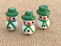 1   Green Hat Snowman Lampwork Glass Beads