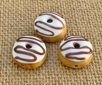 1 |  Vanilla Frosted Doughnut w/ Chocolate Swirls Glass Bead