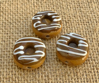 1 | Chocolate Frosted Doughnut w/ Vanilla Swirls Glass Bead