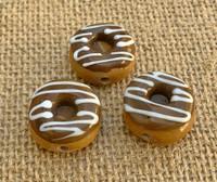 1   Chocolate Frosted Doughnut w/ Vanilla Swirls Glass Bead