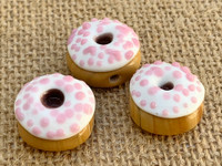 1 | Vanilla Frosted Doughnut w/ Strawberry Sprinkles Glass Bead