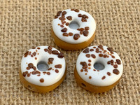 1 | Vanilla Frosted Doughnut w/ Chocolate Sprinkles Glass Bead