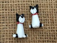 1   Black & White Puppy Dog Lampwork Glass Bead