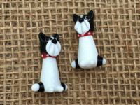 1 | Black & White Puppy Dog Lampwork Glass Bead