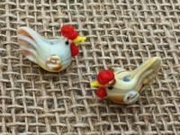 1   Brown Chicken Lampwork Glass Beads