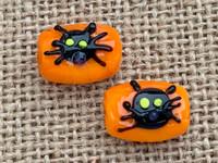1 | Black Cat Head on Orange Lampwork Glass Beads