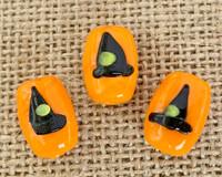 1 | Black Witch Hat on Orange Bead Lampwork Glass