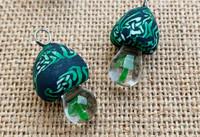 1 | Black & Green Mushroom Charm Pendant