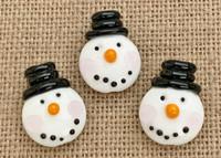1 | Top Hat Snowman Head Lampwork Glass Bead