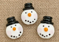 1 | Top Hat Snowman Head Lampwork Glass Bead