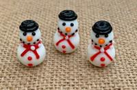 1 | Top Hat Christmas Snowman Lampwork Glass Bead