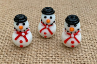 1 | Top Hat Christmas Snowman Lampwork Glass Bead