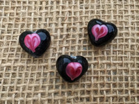 1 | Pink on Black Heart Beads Lampwork Glass