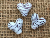 1 | Black & White Zebra Print Heart Lampwork Glass Bead