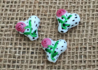 1 | Dalmatian Rose Heart Lampwork Glass Bead