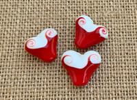 1 | 1920s Art Deco Red Swirl Heart Lampwork Glass Bead
