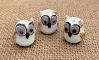 1 | White Owl Lampwork Glass Bead