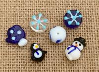 6 | Winter Penguin Snowman Mix Lampwork Glass Beads