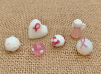 6 | Pink Ribbon Angel Lampwork Glass Beads