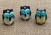 1   Black Owl Lampwork Glass Bead