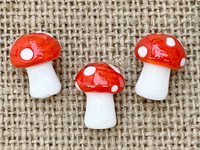 1 | Red Polka Dot Mushroom Lampwork Glass Bead 12x15mm