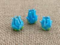1 | Aqua Tulip Lampwork Glass Bead