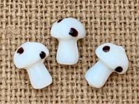 1   White Polka Dot Mushroom Lampwork Glass Bead