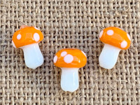 1 | Orange Polka Dot Mushroom Bead Lampwork Glass