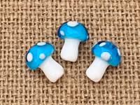 1 | Aqua Polka Dot Mushroom Bead Lampwork Glass