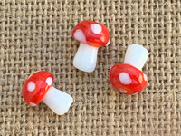 1 | Red Polka Dot Mushroom Lampwork Glass Bead