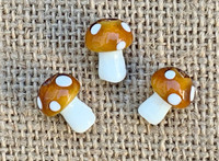 1 | Brown Polka Dot Mushroom Lampwork Glass Bead