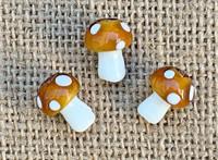 1 | Brown Polka Dot Mushroom Lampwork Glass Bead