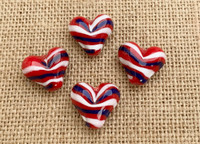 1 | Red, White and Blue Striped Hearts Lampwork Glass Bead