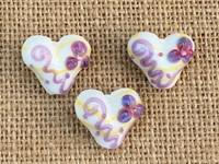1 | Purple Flower Hearts Lampwork Glass Bead