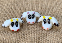 1 | White Cows Lampwork Glass Beads