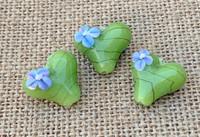 1 | Green & Violet Flower Heart Lampwork Glass Bead