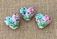 1 | Pink & Blue Flower Heart Lampwork Glass Bead