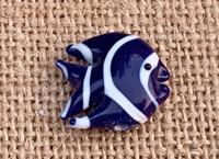 1 | Dark Blue & White Tropical Fish Lampwork Bead